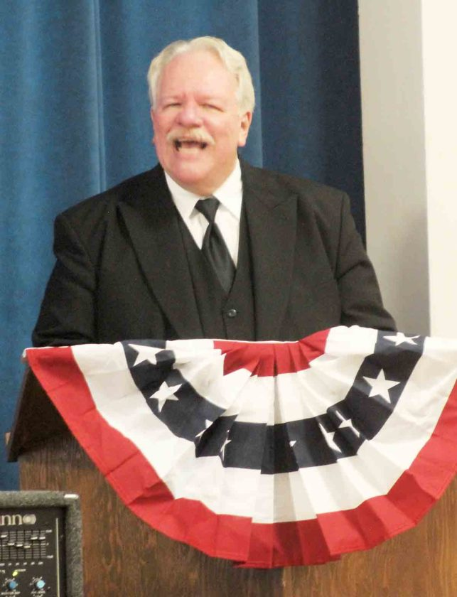 President William Howard Taft impersonator Greg Hudson, of Cincinnati, provides a reenactment Monday of an address the president gave while on a visit to Marietta in 1910 at the First Congregational Church in Marietta. (Photo by Janelle Patterson)