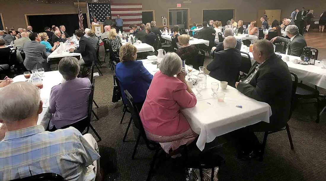 More than 150 Washington County Republicans gather at the Marietta Shrine Club for the Reagan Dinner Tuesday. (Photo by Janelle Patterson)