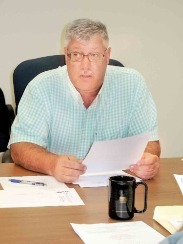 Photo by Evan Bevins Parkersburg Utility Board Manager Eric Bennett discusses an agenda item during Wednesday's Parkersburg Utility Board meeting.