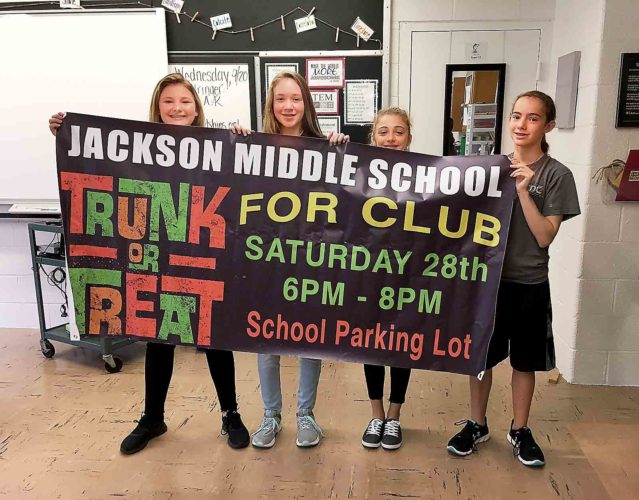 Photo Provided From left, seventh-graders Layken Skinner, Halley Durkin, Olivia Welch and Izzy Farinash are some of the FOR Club members at Jackson Junior Middle School in Vienna.