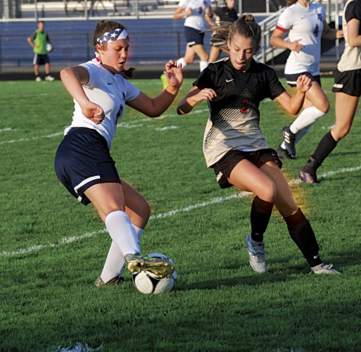 Photo by Steve Hemmelgarn South's Jessie Life (left) fights for control of the ball against University's Kara Lobban during the Hawks' 4-0 win over the Patriots Thursday.