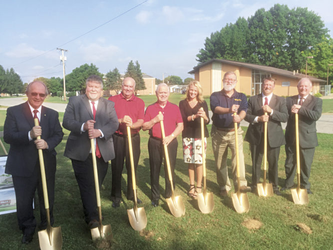 Photo Provided Officials gathered Wednesday in Jackson County to break ground on the site of the new Ravenswood Middle School. Attending (from left) were West Virginia School Building Authority Executive Director Frank Blackwell, Superintendent Blaine Hess, Jackson County Board of Education members Steve Wedge and Carroll Staats, board President Bobbi Ferrell, board member Steve Chancey, Ravenswood Middle School Principal Jeff Haskins, and Assistant Superintendent Keith Burdette.
