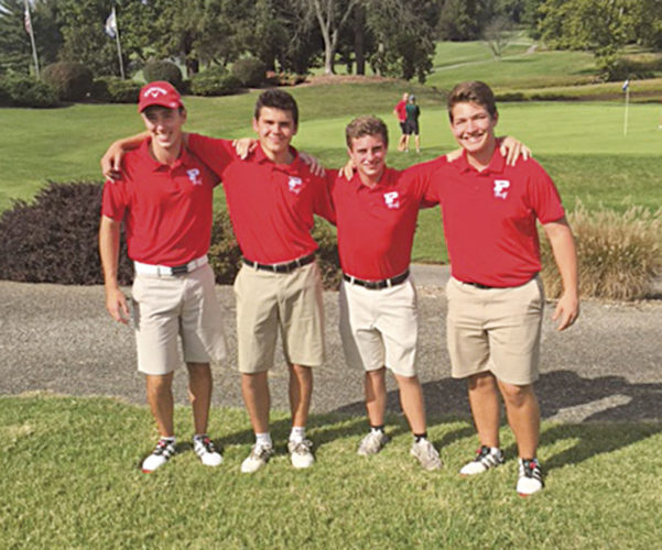 Parkersburg High's golf team qualified for the state tournament a second consecutive season after finsihing second in the Class AAA, Region IV championship Monday at Sleepy Hollow. Celebrating from left to right are: Trey Rossana, Dylan Shaver, Isaac Prine and Garrett Ballway.