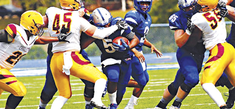 Glenville State College running back Dominique Gibson, pictured here against the University of Charleston last season, broke out during the Pioneers' 47-42 road win last week at Alderson Broaddus by rushing for 171 yards and two scores. The G-men visit Institute for a 1:30 p.m. homecoming clash today versus West Virginia State. Photo courtesy of Glenville State College.