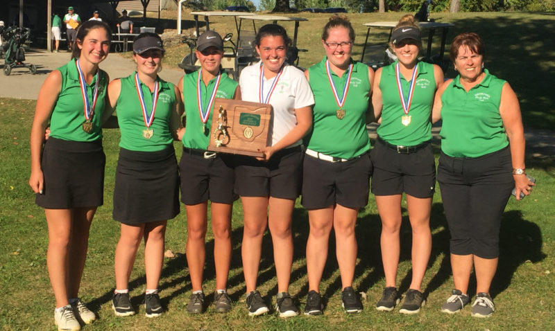 Courtesy photo The Waterford High girls golf team, led by Ashley Offenberger's (far left) score of 84, won the Ohio Division II Southeast District championship Tuesday in Ashville, Ohio.