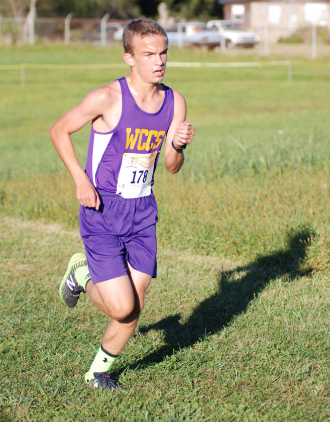 Wood County Christian's Franklin Angelos set a new meet record at the Wood County Middle School cross country championship Tuesday in Mineral Wells. Angelos' time was 9 minutes, 20 seconds.  Photo by  Jay W. Bennett