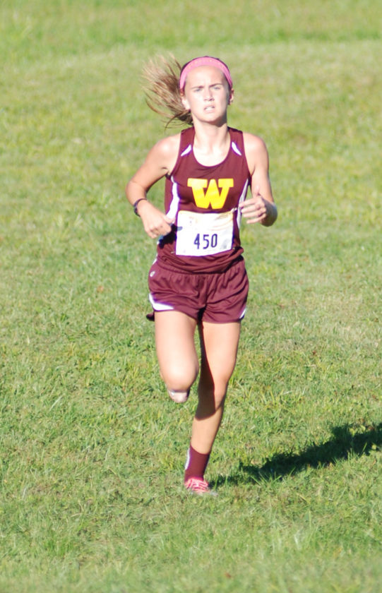Williams-town's Natalie Sawin helped the Yellowjackets defend their Wood County Middle School cross country championship Tuesday in Mineral Wells. Sawin won the title with a time of 10 minutes, 47 seconds.  Photo by  Jay W. Bennett