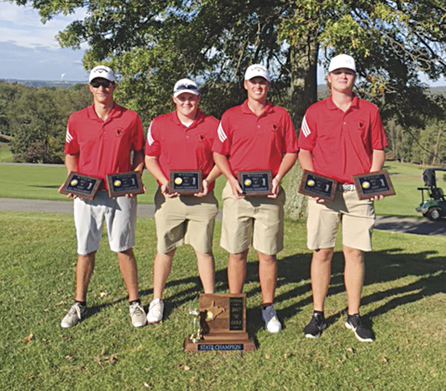 Ravenswood High School won the Class A state golf championship on Wednesday at Oglebay Resort's Jones Course. Pictured, from left, are Red Devil team members Alex Easthom, Ciah Kennedy, Gavin Fox and Carson Fox. Easthom was the runner-up and Carson Fox finished third overall. Both Red Devils were named to the all-state team for second-year head coach Dave Rader.