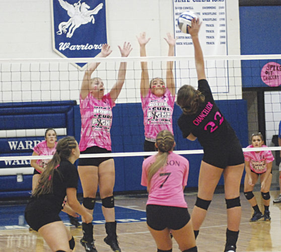 Williamstown's Skyler Chancellor (22) attempts a spike as Warren's Maggie Kemp, left, and Emily Ontko go up to block it during a high school volleyball match Thursday in Vincent. Photo by Jordan Holland.
