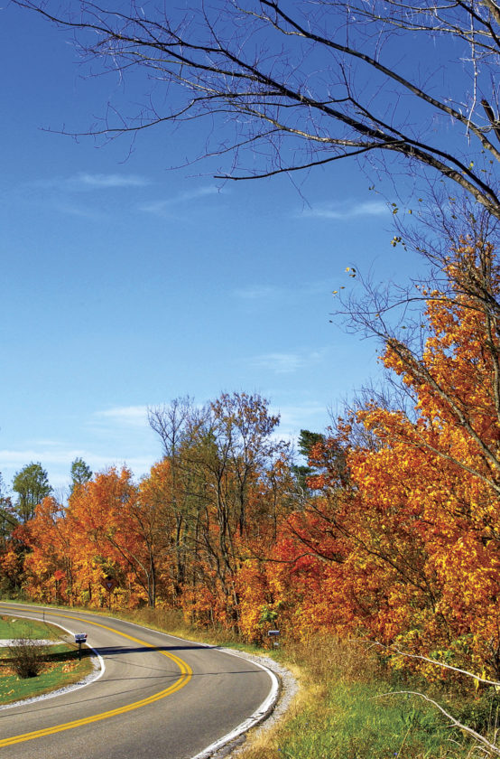 Photo courtesy of West Virginia Department of Commerce West Virginia 62 in Jackson County should see peak fall foliage color in late October.