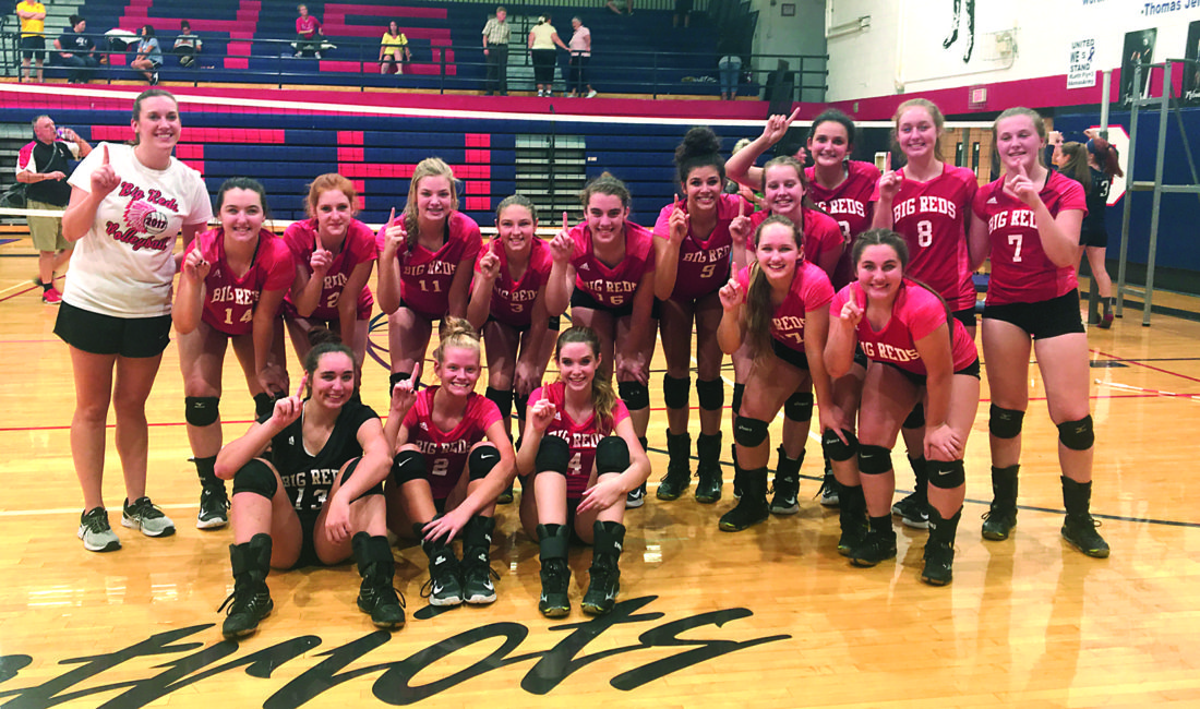 Photo courtesy Kerri Lauer Parkersburg High School poses for a team picture following Saturday's 25-22, 15-25 and 25-18 championship match victory against St. Albans at Parkersburg South's Fall Brawl.