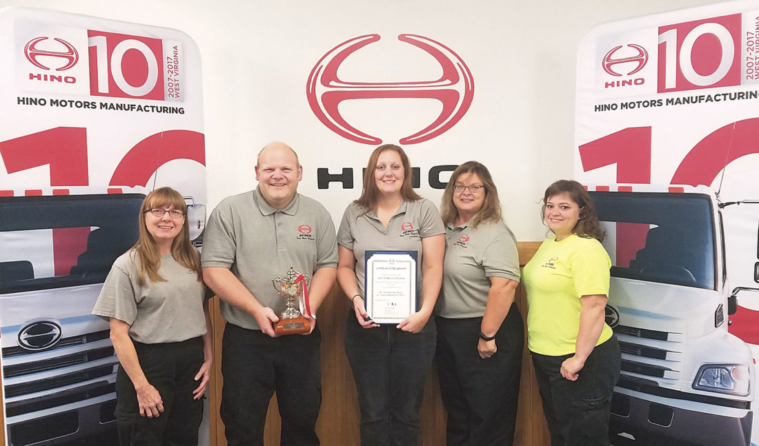 Photo Provided Williamstown-based Hino Motors WV received recognition last month for the efforts of  its Quality Circle team. The team members are, from left, Mary Stacy, Jason Sprouse, Amber Hoyt, Lynn Wiblin and Nikole Bolen.