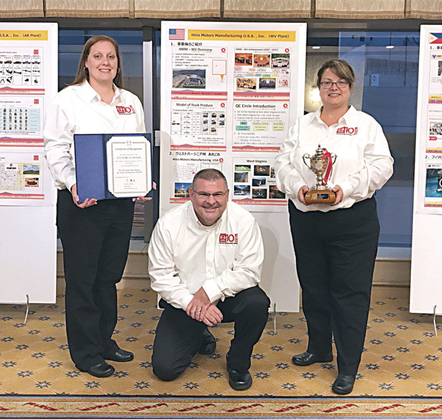 Photo Provided Hino WV Quality Circle team members Amber Hoyt, left, and Lynn Wiblin, right, were able to attend an international Hino conference in Japan along with advisor Lee Johnson, center.