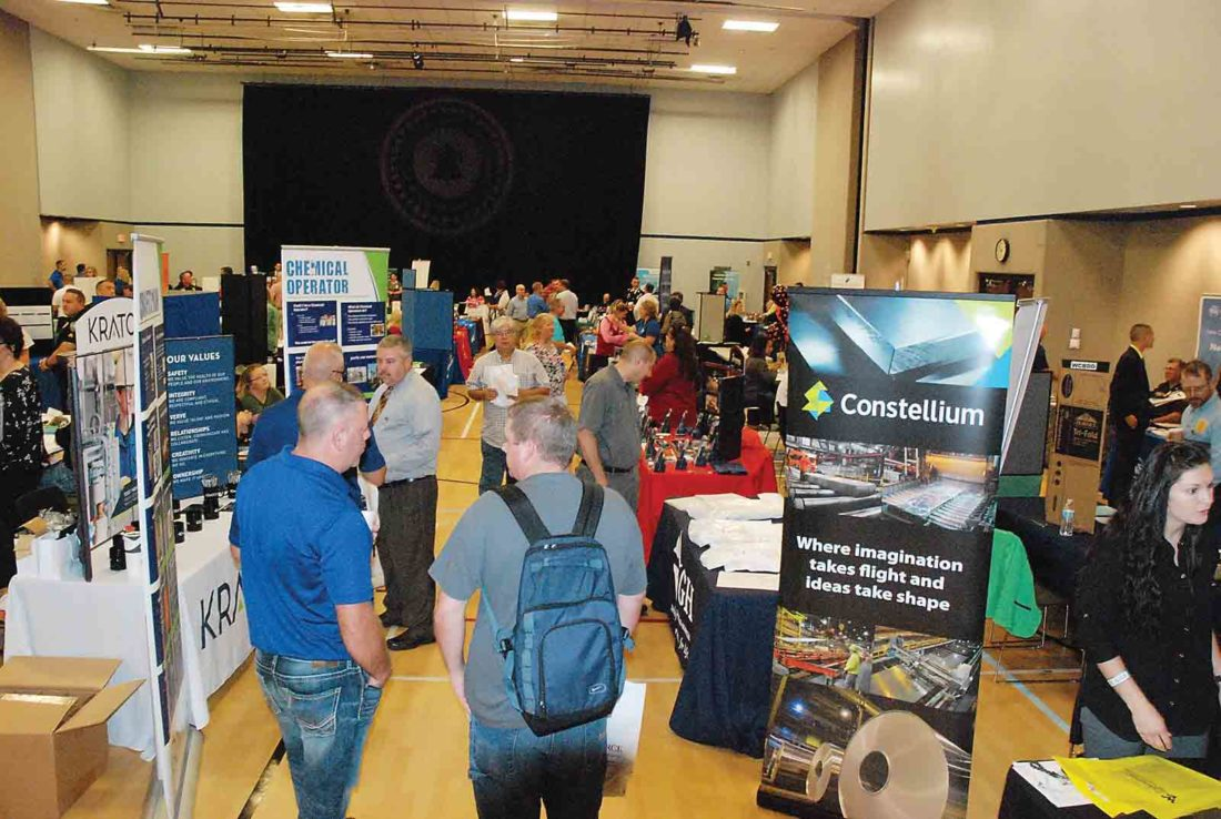Photo by Evan Bevins About 650 job-seekers turned out for Wednesday's Mid-Ohio Valley Job Fair, where more than 100 employers were set up at West Virginia University at Parkersburg.