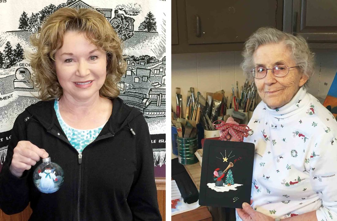 Photos Provided Judy Perkins' chubby snowman and Hilda Steen's Star Lit Noel were the winners in 2016 in the Pleasants Area Chamber of Commerce's annual contest for the Christmas ornament to represent Pleasants County and Tyler County on the Artistree Christmas tree in the governor's mansion. Entries will be accepted until Nov. 10.