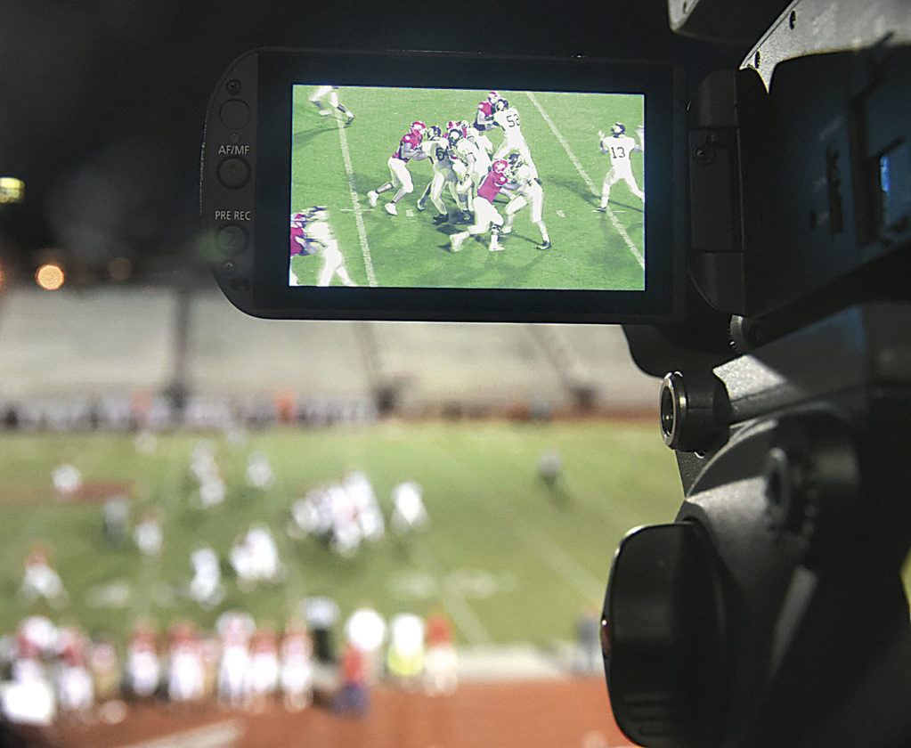 Photo by Jeff Baughan A closeup of the live-view screen from a play during the Woodrow Wilson-Parkersburg High football game.