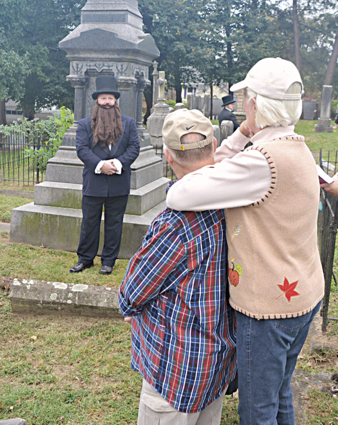 Photo by Brett Dunlap Gov. Jacob Beeson Jackson, the state's sixth governor, was portrayed by Andy Rasmussen during a living history presentations Sunday at Riverview Cemetery on Juliana Street as part of a dedication ceremony for the new fence surrounding the historical cemetery.