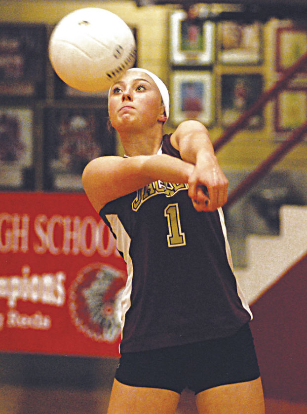 Williamstown freshman Gracie Graham passes the ball toward the net during Wednesday's quad inside Parkersburg's Memorial Fieldhouse. The Yellowjackets finished 1-2. Photo by Jay W. Bennett.