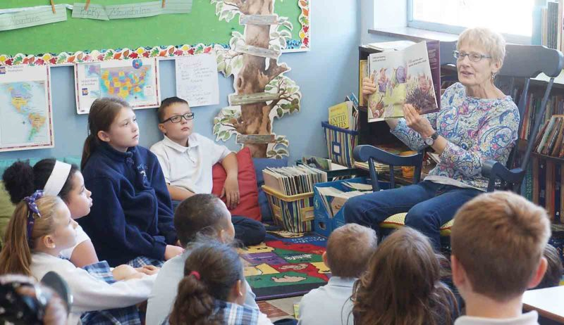 Photo by Michael Erb Author Kathy Brodsky visited students at Parkersburg Catholic Elementary School Thursday, talking about her various children's book and how she finds inspiration in everyday things.