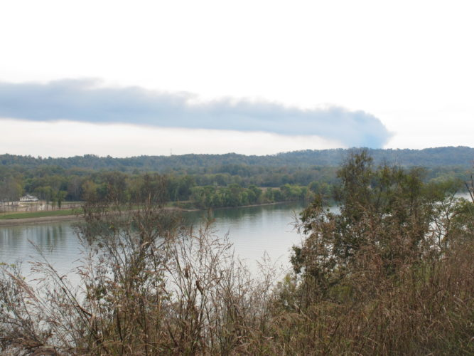 Photo by Jess Mancini The smoke plume from the fire at the former Ames shovel plant in south Parkersburg is blown northward toward Williamstown, Marietta and points beyond. The photo was taken at the scenic overlook on Ohio 7 south of Marietta.