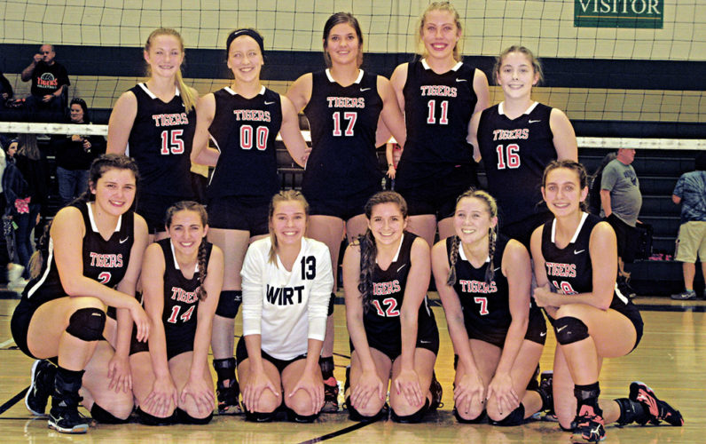 The Wirt County volleyball team captured the Little Kanawha Conference championship after downing Ritchie County in three sets Saturday night at Doddridge County High School. Photo by Jay W. Bennett.