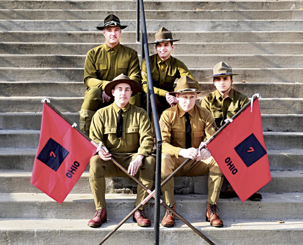 Photo by Doug Loyer A group represented soldiers from Company B 7th Ohio National Guard who left the Armory for Camp Sheridan in Alabama 100 years ago.
