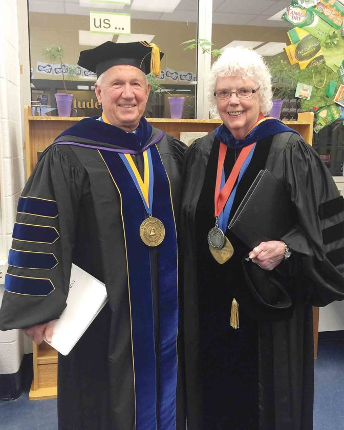 Fletcher Lamkin and Jane Milley at the May 2016 WVU Parkersburg commencement. Milley will be taking the position of interim president at WVUP beginning Nov. 16 following Lamkin's resignation. (Photo Provided)