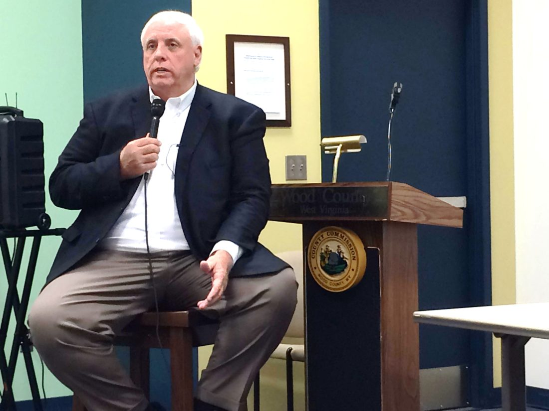 West Virginia Gov.  Jim  Justice speaks at a press conference at the Black Annex about the fire at the IEI Plastics warehouse on Camden Avenue.