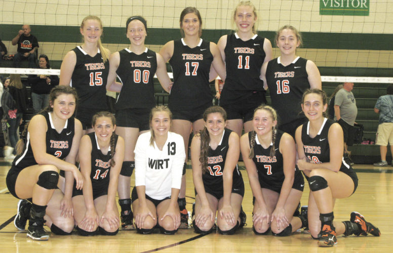 The Wirt County volleyball team captured the Little Kanawha Conference championship after downing Ritchie County in three sets Saturday night at DoddridgeCounty High School. Photo by Jay W. Bennett.