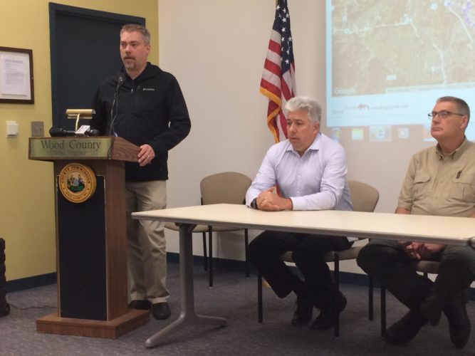 From left, Dr. Paul Nony of CTEH, Lawrence Messina of the West Virginia Department of Military Affairs and Public Safety and Rusty Joins of the West Virginia Department of Environmental Protection at a press conference this morning at the Black Annex.
