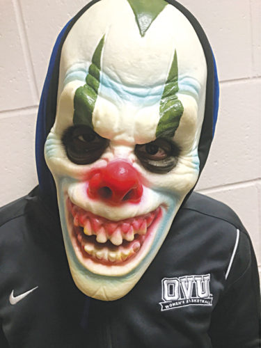 Photo provided A ghoulish clown poses for the camera at Ohio Valley University where the Student Athlete Advisory Committee will hold a Haunted Trail in the woods around the college 7:30-10:30 p.m. Friday, Saturday, Monday and Tuesday. Proceeds benefit the committee and Make A Wish.