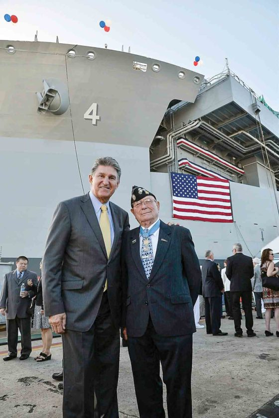 "Photo Provided Sen. Joe Manchin, D-W.Va., stands with Hershel ""Woody"" Williams of Ona, W.Va., at the christening of the ship named for Williams in San Diego."