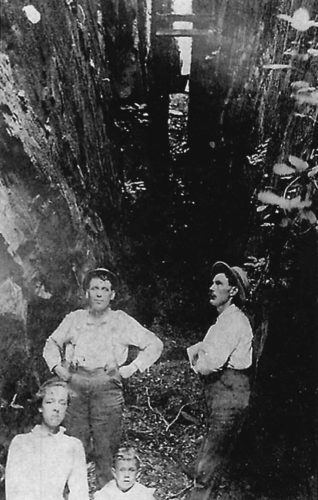 """Photo provided by Ritchie County Historic Society The people shown in the undated photo above, are standing in the fissure that initially allowed access to the asphalt rock of what became the Ritchie mines.  It is recorded that several eastern cities purchased the asphalt tar to pave major streets, including Fifth Avenue in New York and Pennsylvania Avenue in Washington, D.C. Although the fissure is practically all that remains of """"the Mines"""" today, it is still a popular hiking site, affording an opportunity to visit one of the most interesting historic sites in the area."""