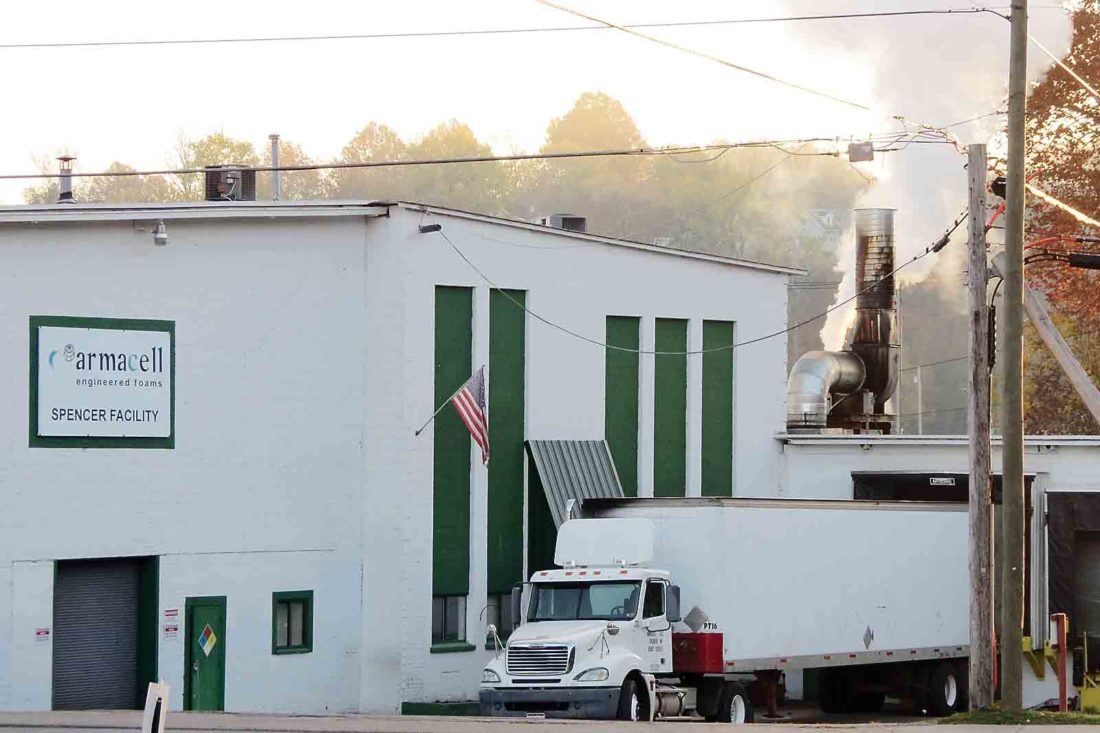 Photo courtesy of the Roane County Economic Development Authority Flexible foam manufacturer Armacell, which employs 70 people locally, is moving operations from its downtown Spencer location to the former Mustang Survival facility in the city. An additional 23 people are expected to be hired in the next 12 to 18 months.