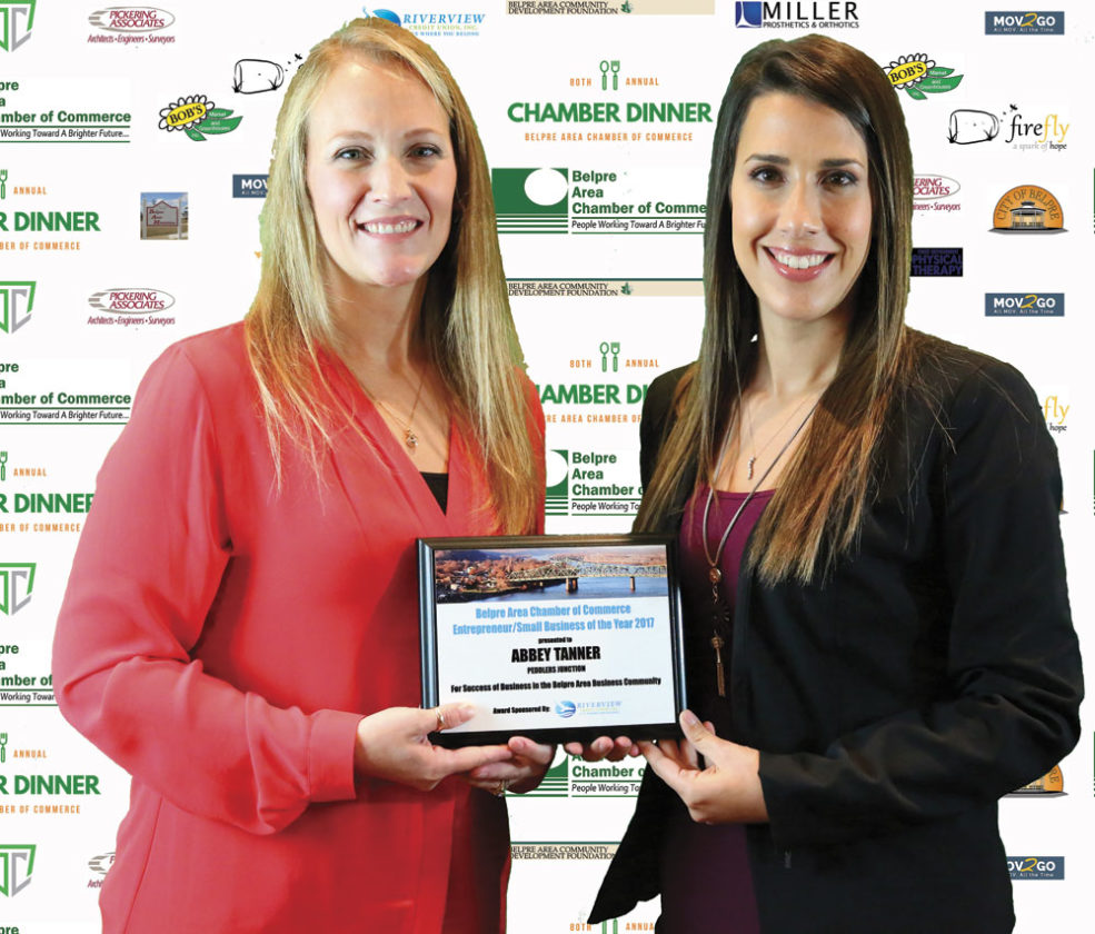 Photo Provided Winner of Entrepreneur/Small Business of the Year was Abbey Tanner of Peddler's Junction Vendor Mall, left, with Nikita Chidester, marketing and communications coordinator, representing award sponsor Riverview Credit Union.