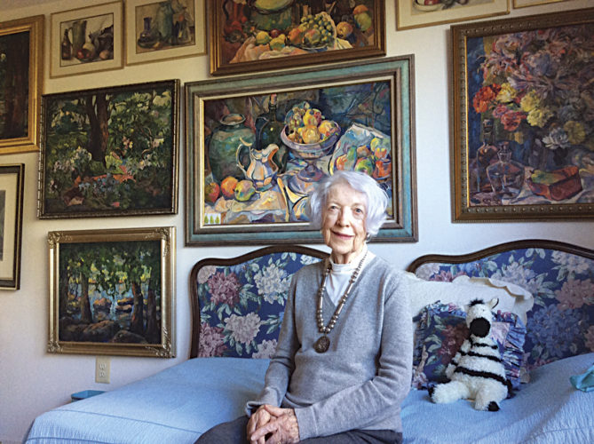 Photos provided Betty Ulrey in her studio at her home in Glen Mills, Pa., with some of her artwork in the background. At age 98, she still paints actively.