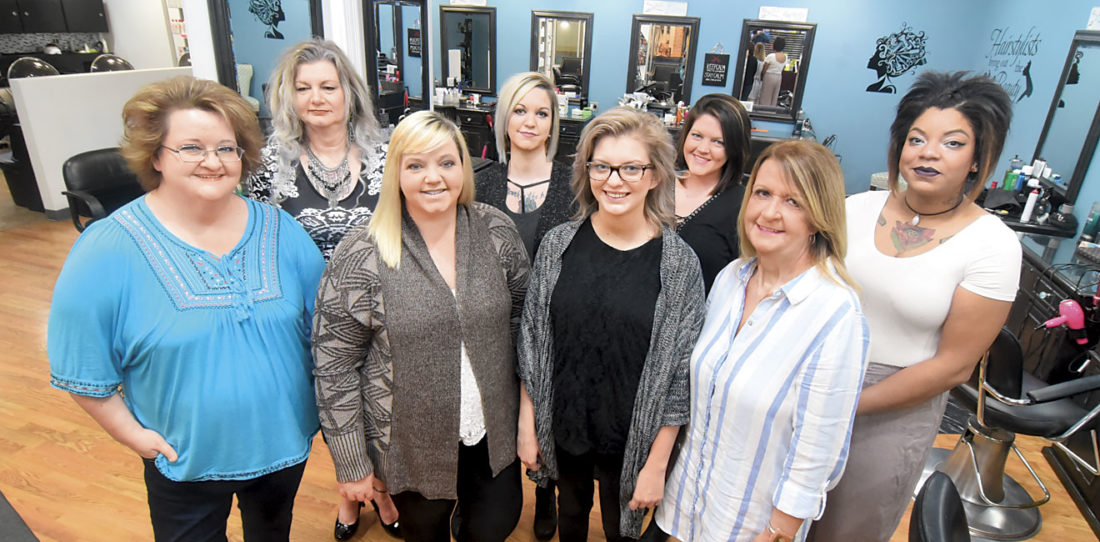 Photo by Jeff Baughan The Rage Hair Salon staff at the Grand Central Mall is providing haircuts at no charge Sunday from noon-6 p.m. Front row, from left, are Debbie Reese, Holly McKnight, Leah Roberts and Missie Weaver. Back row, from left, are Melissa Shepard, Maggie Wagner, Andrea Little and Tiana Tibbs. Not pictured are Cassie Brundige, Cheyenne Landis, Rachelle West, Josy Duckworth, Alex Whittington, Meranda Clegg, Renee Kerns and Taylor Hoover.