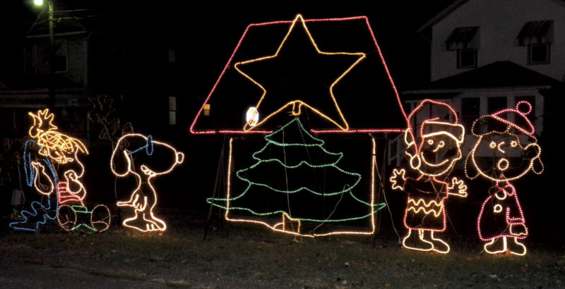 File Photo The Peanuts characters were featured in a light display at City Park in Parkersburg during Holiday in the Park last year.