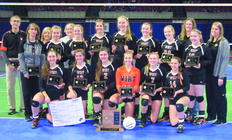 Above: Wirt County captured its 11th overall state volleyball championship on Saturday morning inside the Charleston Civic Center by sweeping fellow Little Kanawha Conference program Ritchie County.  Photo by Jay W. Bennett