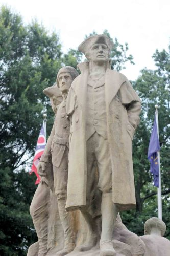 The Start Westward Monument in East Muskingum Park was dedicated in 1938 as a national monument commemorating the first settlement in the Northwest Territory. (Photo by Janelle Patterson)