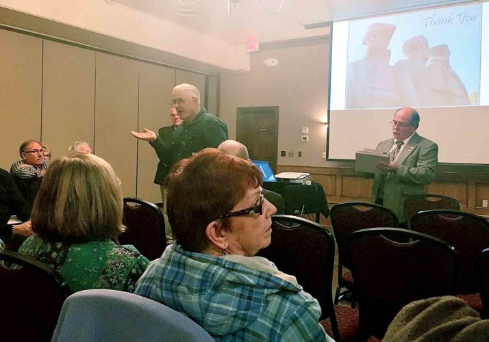 Photo by Erin E. O'Neill Grady Smith, with the Marietta Tree Commission, offers suggestions during a public input session on the Start Westward Monument/East Muskingum Park project at the Lafayette Hotel Thursday.