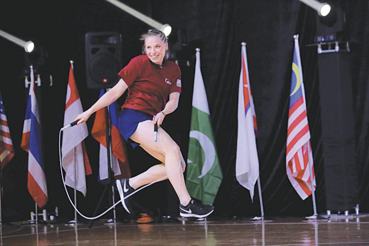 Photo Provided Tori Boggs of Vienna at the Asia and Pacific Jump Rope Championships in August in Hong Kong.