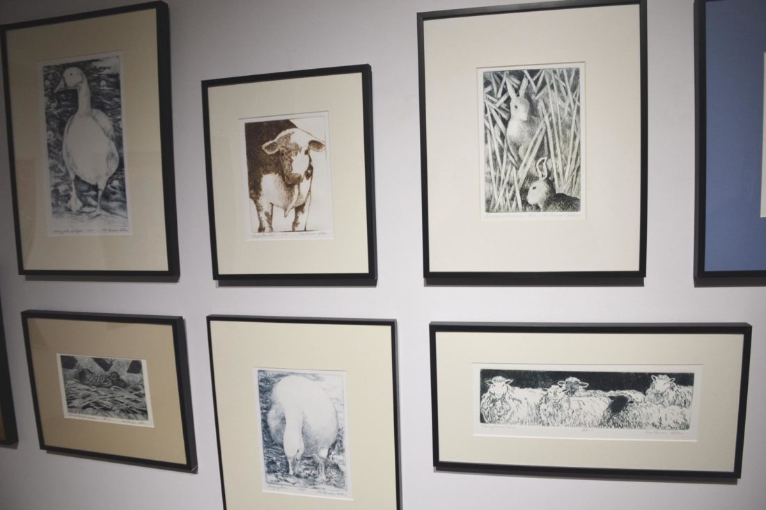 Photo by Brett Dunlap The work of Ele Ruman-Allen of Amanda, Ohio, is featured in a display of artists from the Innovative Arts Alliance. She does drawings of scenes on her farm and of the animals there. Some are from memory and others are scenes she photographed and sketched separately.