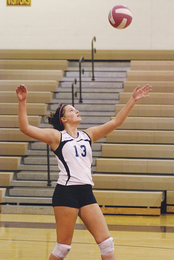 Philip Barbour junior McKenzie Carpenter, pictured here during a match at Williamstown earlier this year, helped the Colts to their third consecutive Class AA state volleyball crown and for her efforts she was honored as captain of the all-state first-team. Photo by Jay W. Bennett.