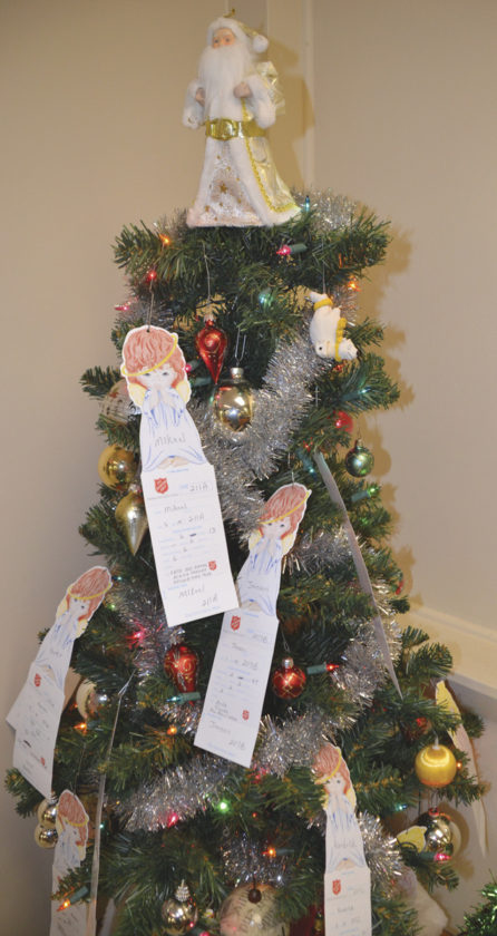 Photo by Brett Dunlap The Salvation Army of Parkersburg is seeking sponsors for its annual Angel Tree program. The trees contain information about children in need of gifts for Christmas.