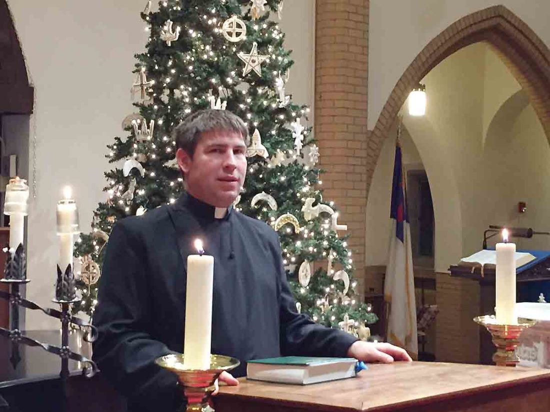 Photo Provided The Rev. Ian B. Reid, senior pastor of First Lutheran Church, 19th and Plum streets, prepares to read the Bible lesson for an evening Compline service last year.  Compline services, the last prayer service of the day, this year are scheduled every Thursday before Christmas, 7 p.m. Dec. 7, Dec. 14 and Dec. 21. Services are open to the public.