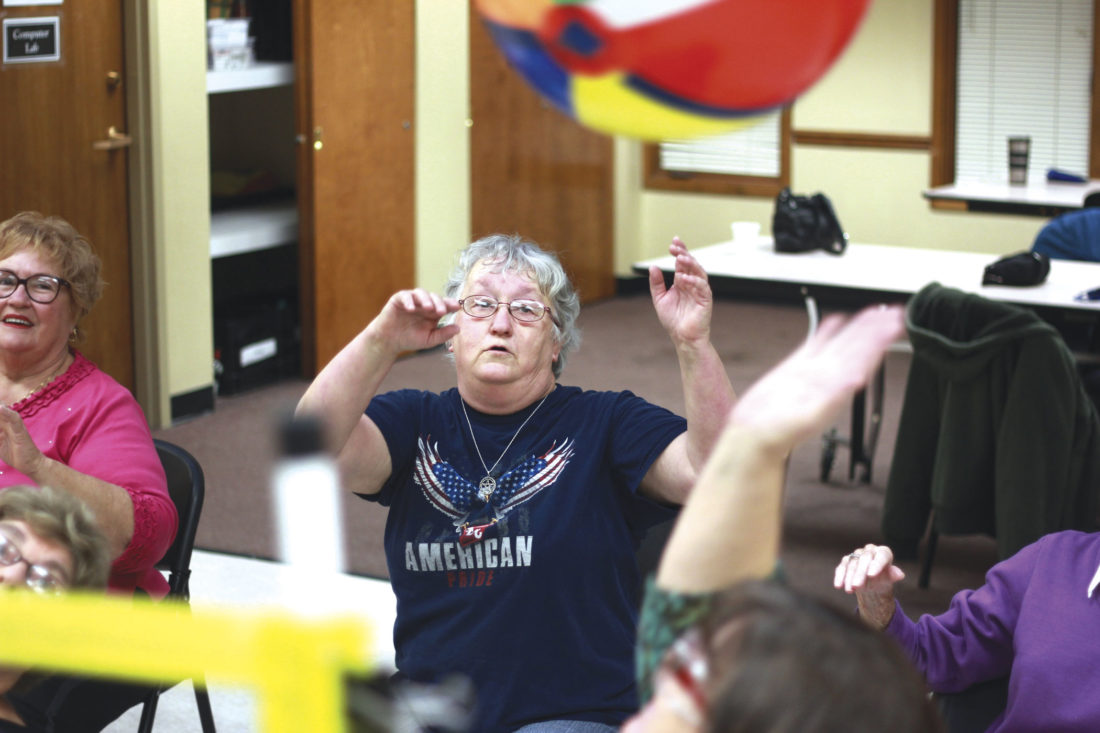 Photo by Janelle Patterson Nancy Jenkins, 67, of Marietta, doesn't let her Type 2 Diabetes stop her from enjoying a game of chair volleyball at the O'Neill Center in Marietta.