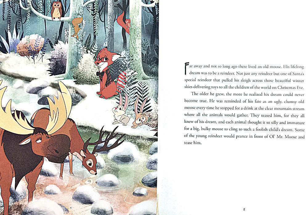 """Artwork and the first page of the Walter Pavlo book """"A Christmas Eve Bedtime Story"""" is shown."""