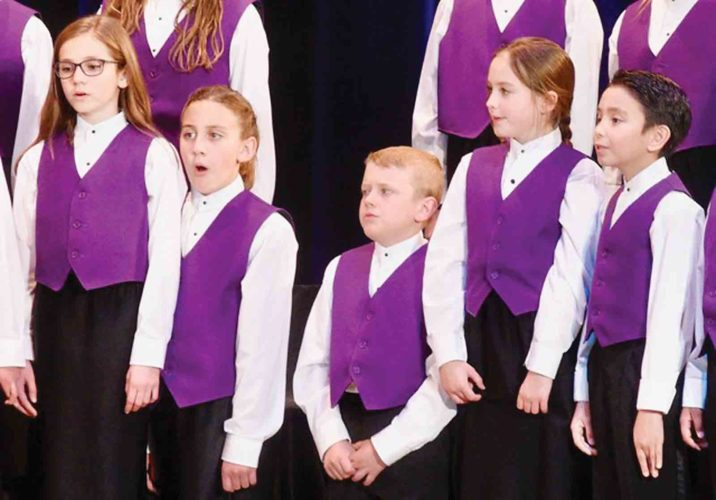 Photo Provided The Smoot Theatre Youth Vocal Ensembles will present a Christmas Concert at 4 p.m. Saturday at Trinity Episcopal Church in downtown Parkersburg. Pictured from left are Tori Tennant, Vada Hafer, Evan Matheny, Sophie Seckman and  Nathan Thornton.