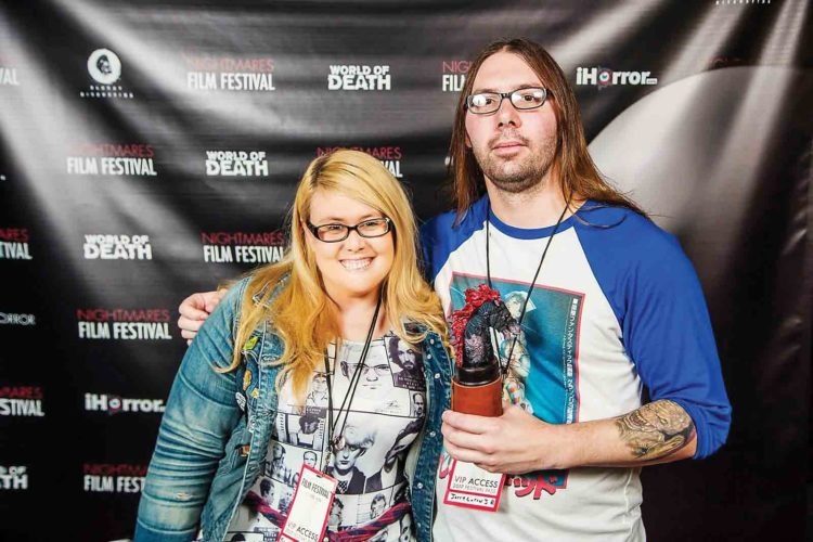 Photo Provided Brooklyn Ewing and Jerry Larew Jr. at the 2017 Nightmares Film Festival in Columbus with their award.